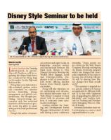 Disney Seminar to be held