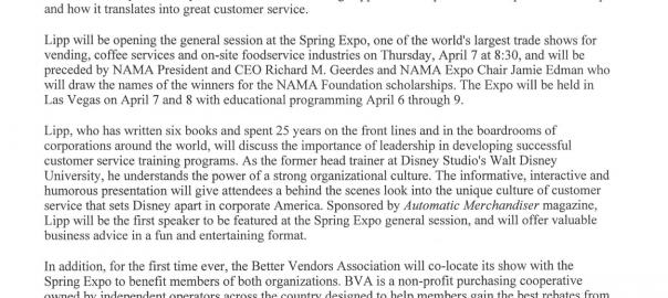 Doug Lipp to keynote National Automatic Merchandising Expo