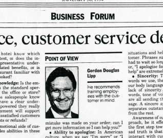 Doug Lipp explains customer service demands diligence